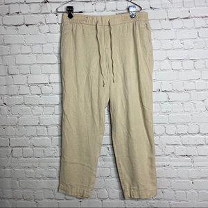 Old Navy Tan Linen Cropped Pants Capris Medium